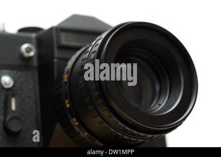 Appareil photo reflex noir avec lentille close-up Banque D'Images