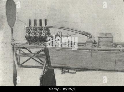 Un moteur Antoinette 50 chevaux monté sur le corps de cadre un monoplan, 1909