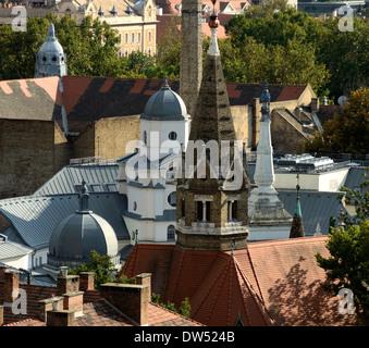 Vue du haut de la tour de l'eau sur la place St Stephan de Csongrad Hongrie Szeged Banque D'Images