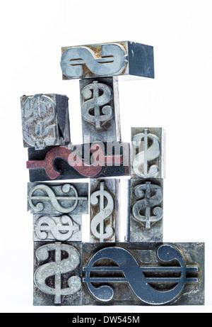 US Dollar sign type de métal Banque D'Images