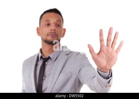 Business man un écran transparent - noirs, isolé sur fond blanc Banque D'Images