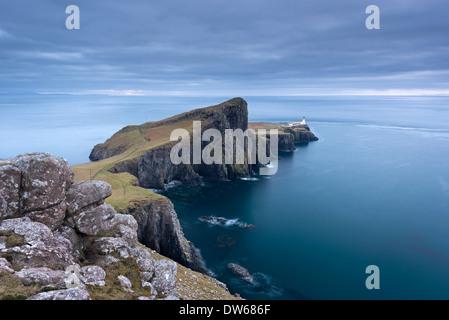 Neist Point, la plus occidentale de l'île de Skye, Écosse, Hébrides intérieures. Hiver (décembre) 2013. Banque D'Images