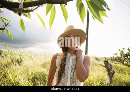 Young woman enjoying campagne