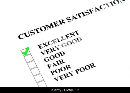 La satisfaction du client ou service enquête étant rempli d'excellentes. Banque D'Images