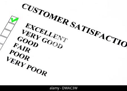 La satisfaction client service formulaire avec des cases à cocher. Excellent est cochée. Banque D'Images