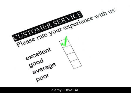 Excellente expérience sur le service clientèle formulaire. Banque D'Images