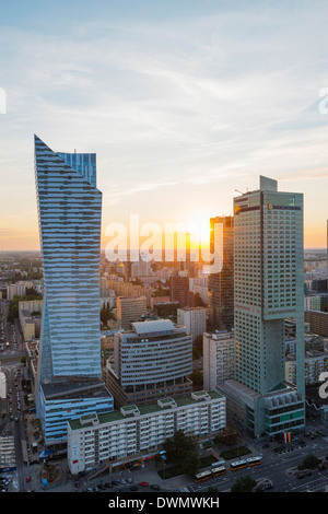 Vue sur la ville de palais de la Culture et des sciences, Varsovie, Pologne, Europe Banque D'Images