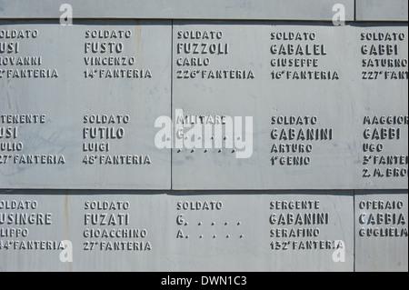 Fogliano Redipuglia, Italie- 9 mars 2014: les noms d'identifier et de soldats inconnus tombés lors de la PREMIÈRE Banque D'Images