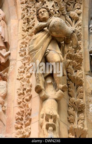 Statues, Cathédrale Notre-Dame de Reims, l'UNESCO World Heritage Site, Reims, Marne, Champagne-Ardenne, France, Europe