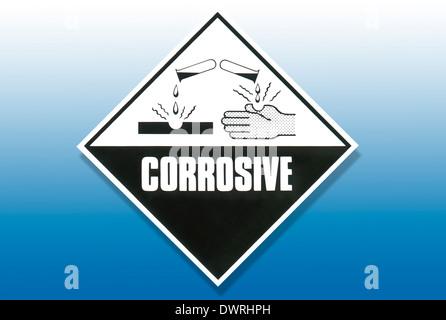Signe de détresse - substances corrosives Banque D'Images