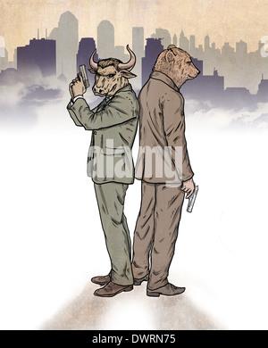 Image d'illustration de bear et bull standing back to back représentant stock market