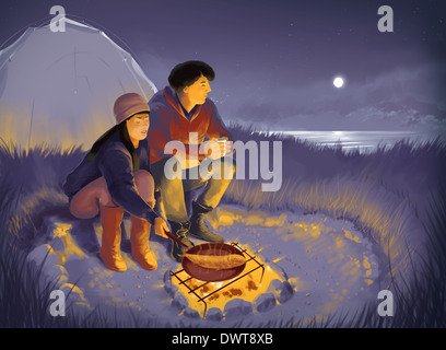 Image d'illustration de couple tandis que la nuit de camping barbecue Banque D'Images
