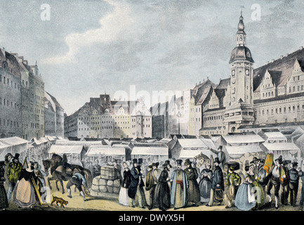 Messe Leipzig, le parc des expositions de Leipzig, Leipzig, Saxe, Allemagne, Europe, 19e siècle Banque D'Images