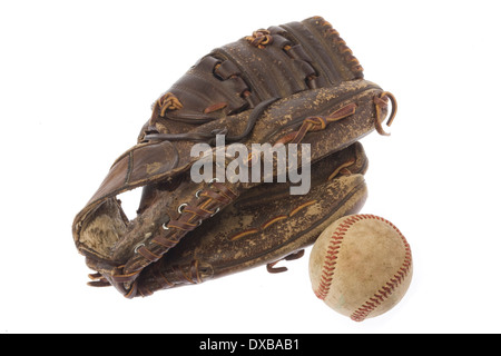 Gant de baseball et balle still life Banque D'Images