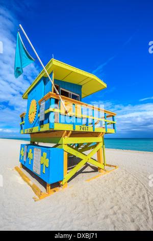 Célèbre maison de sauveteur dans un typique style Art déco colorés, Miami Beach Banque D'Images