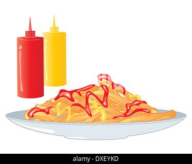 Une illustration d'une plaque d'or croustillant des frites avec du ketchup et de la moutarde sur une plaque gris Banque D'Images