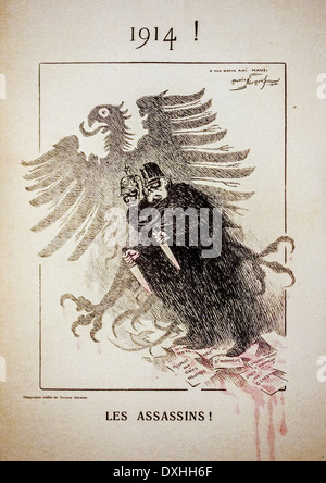 La propagande française WWI vintage caricature de 1914 montrant deux soldats allemands avec de grands couteaux de Banque D'Images