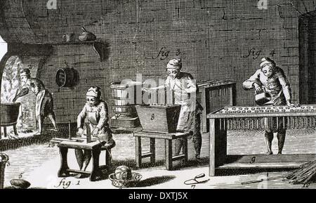 La main de l'atelier des bougies. 18e siècle. Gravure en Encyclopedie de Diderot et d'Alembert. La gravure. Banque D'Images