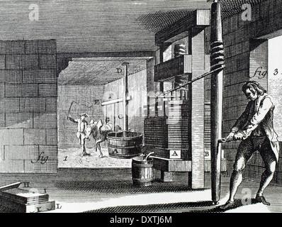 Atelier dédié à la fabrication de carton. Et en appuyant sur la pâte. 18e siècle. Banque D'Images