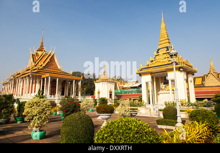 La Pagode d'argent à l'intérieur du complexe du Palais Royal, Phnom Penh, Cambodge Banque D'Images