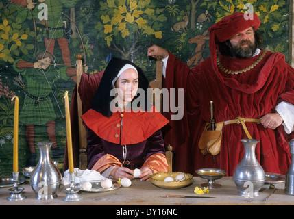 15e siècle 15e siècle médiéval seigneur et Dame de Manor House, reconstitution historique, costumes costume dress Banque D'Images