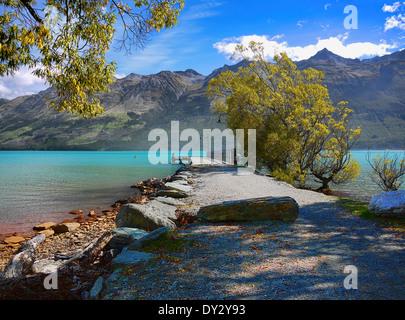 Sur le lac Wakatipu aux monts Humboldt de Glenorchy, près de Queenstown, île du Sud Nouvelle-Zélande Banque D'Images