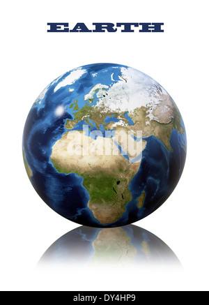 Globe terrestre carte. Vue sur la planète de l'espace. Côté de l'Europe et l'Afrique. La texture de la terre de Banque D'Images