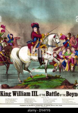 Bataille de la Boyne en 1690. Le roi protestant Guillaume III dans un mémorial américain imprimer publié en juillet Banque D'Images