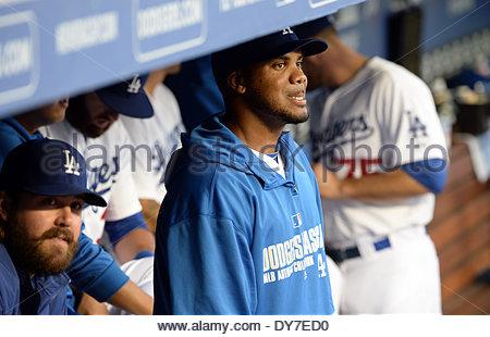 Los Angeles, Californie, USA. Le 08 Avr, 2014. De baseball des Dodgers de Los Angeles, Kenley Jansen avant un match Banque D'Images