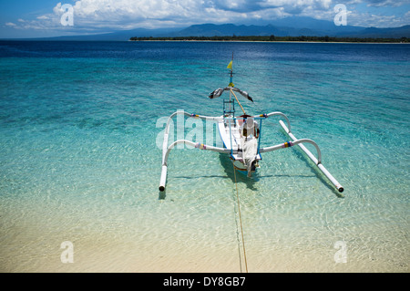 Bateau amarré à Gili Air, de Lombok, Indonésie, Asie Banque D'Images