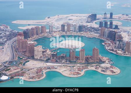 Doha, Qatar, Moyen-Orient, Pearl, aérienne, l'architecture, baie, la ville, de la construction, du développement, Banque D'Images