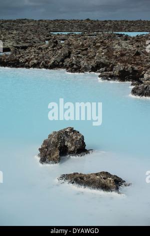 Blue Lagoon est une station thermale à l'aide de l'eau chaude à partir d'une centrale géothermique, l'Islande (non Banque D'Images