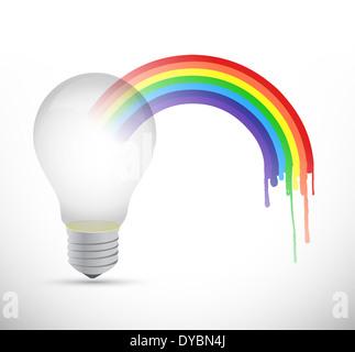 Lightbulb et rainbow illustration design sur un fond blanc Banque D'Images