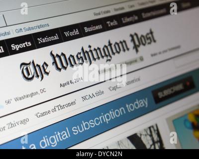 Site web du Washington Post Banque D'Images