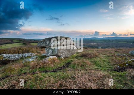 Granite rock formation sur Helman Tor une réserve naturelle sur les Saints Way sentier près de Bodmin à Cornwall Banque D'Images