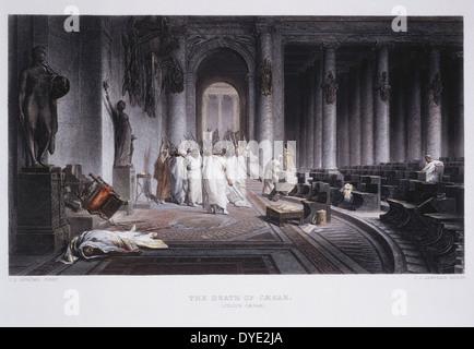 Assassinat de Jules César en 44 avant J.-C., Hand-Colored après peinture gravure par J.L. Gerome, vers 1860 Banque D'Images