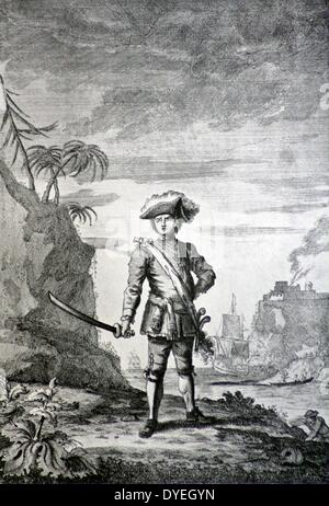 Le capitaine Bartholomew Roberts, le pirate. Une plus généralement accepté portrait du guerrier lui montrant que Banque D'Images