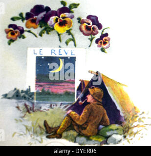 Le Français la seconde guerre mondiale carte postale avec l'encart déroulez onglet, montrant un soldat regarder Banque D'Images