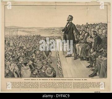 Le discours de Gettysburg en 1863. Le président Abraham Lincoln livrer le discours de Gettysburg. Banque D'Images