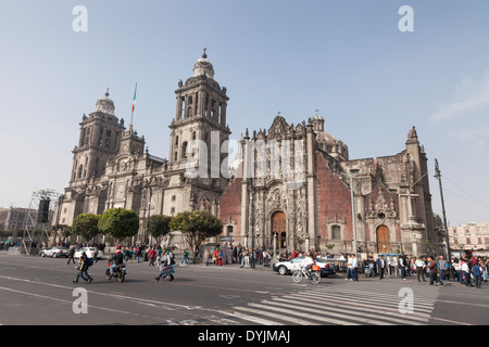 La Cathédrale de Mexico sur le Zócalo - Centro Histórico, Cuauhtémoc, Mexico, District Fédéral, Mexique Banque D'Images
