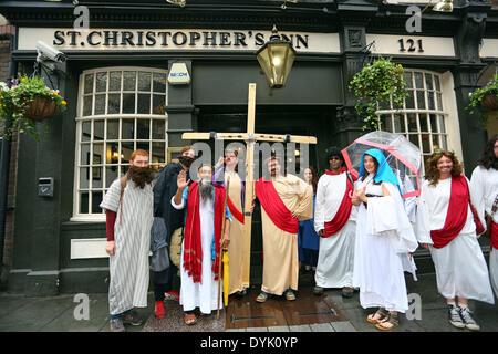 Londres, Royaume-Uni. 20 avril 2014. Les participants habillés en Jésus Christ dans l'assemblée annuelle le dimanche Banque D'Images