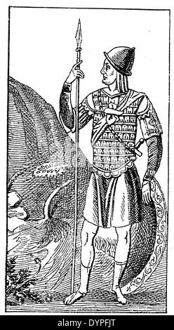 Guerrier byzantin du 10e siècle, portant les armoiries de mail et le capot en métal, armés de bouclier et la lance Banque D'Images