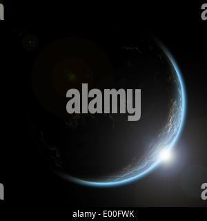 L'inscription d'un artiste de l'aube sur une planète vue de l'espace. Banque D'Images