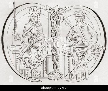 David J, gauche, 1084 -1153. Prince de l'Cumbrians. Malcolm IV, droite. Les deux rois de l'Écossais. Banque D'Images