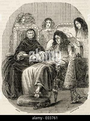 Louis XIV (1638-1715). Roi de France. Derniers moments du Roi Soleil. Gravure de E. Coppin. Bibliothèque universelle, Banque D'Images