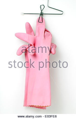 Une paire de gants de travail domestique, rose Banque D'Images