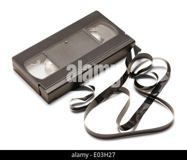 Cassette VHS noir dénoué isolé sur fond blanc. Banque D'Images