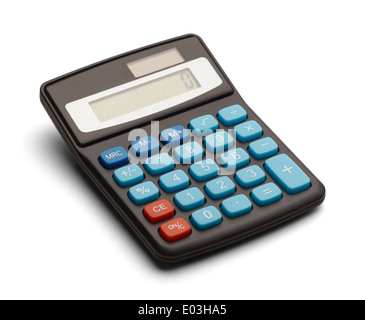 Calculatrice Solaire noir isolé sur fond blanc. Banque D'Images
