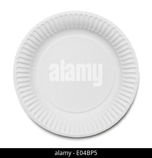 La plaque de papier blanc isolé sur fond blanc. Banque D'Images