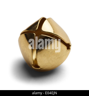 Seul Brass Bell noël isolé sur fond blanc. Banque D'Images